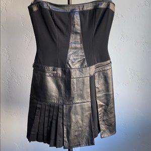 Bebe Leather Pleated Mini Dress